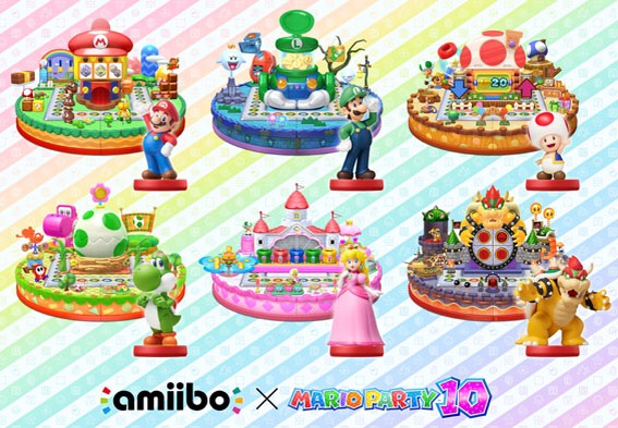 Six Mario Party 10 Amiibo have been released as a tie-in.